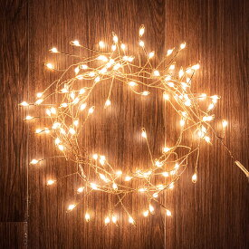 LED ストリングライト イルミネーション 150 cm コッパー シルバー 約 120球 [90346]【 クリスマス デコレーション ライト 電飾 装飾 枝別れ 飾り 金 銀 おしゃれ かわいい インテリア 北欧 雑貨 照明 イベント Horn Please MADE】