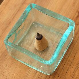 ガラスの小さな四角い アジアン ケース[66302]【雑貨 アジア雑貨 アジアン雑貨 新生活】【アジアンお香立て】