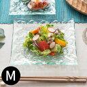 プルメリアをモチーフにした涼しげなガラスプレート[約16.5x16.5cm][62222]【おしゃれ スクエア ハワイアン雑貨 アジアン雑貨 バリ雑貨 モダン スクエアプレート ガラス皿 おしゃれ 花