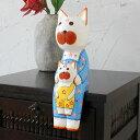 抱っこされた大きなバリネコ親子の木彫りオブジェ[10496]【木彫りの動物 バリ島のネコ ねこ 猫の置き物 インテリア置物 飾り ウッドオブジェ 彫刻 木製デコ...