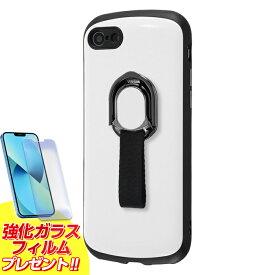 iPhone SE2 ケース スマホリング付き 耐衝撃ケース ProCa+TailRing / ホワイト iphonese 第2世代 iphone8 iphone7 カバー ストラップホール ストラップ アイフォン8 スマホリング バンカーリング