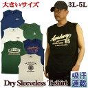 大きいサイズ ノースリーブTシャツ メンズ / ドライ素材 カレッジ柄 / 3L-4L