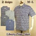 コットンシャツ メンズ 半袖 / リバティプリント 小花 葉 / M-L