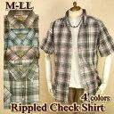 チェックシャツ メンズ 半袖 インド綿 / マドラスチェック柄 / M-LL