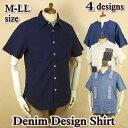 デニムシャツ メンズ 半袖 / 綿 麻 刺繍 パッチワーク / M-LL