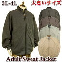 スウェットジャケット メンズ 大きいサイズ / 春物 針抜きスウェット生地 / 3L 4L