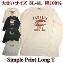 大きいサイズ ロンT メンズ 長袖Tシャツ / ロゴプリント / 3L-5L