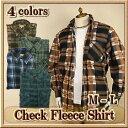 フリースシャツ メンズ / チェック柄 長袖