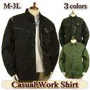 ワークシャツジャケット メンズ 長袖 / 綿 / ウォッシュ / M-3L