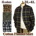 ネルシャツ メンズ ボタンダウン 秋冬物 / チェック柄 / 大きいサイズ 3L-4L