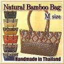 カゴバッグ / ハンドメイド 竹かごバッグ / 横型 Mサイズ / 刺繍 スパンコール / ジップ付