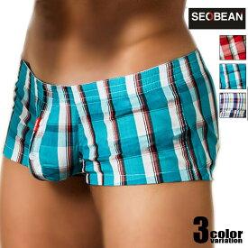 SEOBEAN/セビン ショート丈 コットンチェックトランクス 男性下着 メンズ パンツ モッコリ 前開き コットン 綿 立体縫製