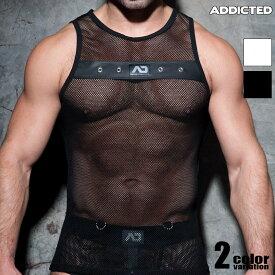 ADDICTED/アディクティッド MESH MIXED TANK TOP タンクトップ 袖なし ノースリーブ スリーブレス メンズ ファッション トップス