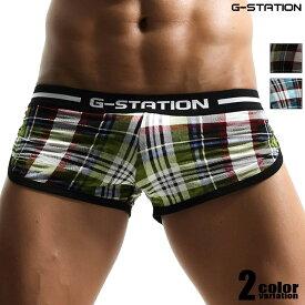 G-Station/ジーステーション マドラスチェック 薄手 微細メッシュ ショートトランクス メンズ 男性下着 ローライズ パンツ サイドスリットタイプ タグレス インナーカップ付き