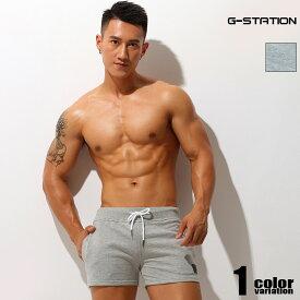 G-Station/ジーステーション コットン100% ワンポイント付き スウェットショートパンツ メンズファッション ジムウェア スポーツウェア リラックス 部屋着 ゆったり 綿 コットンパンツ