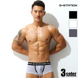 【G-Station/ジーステーション】ソフトストレッチメッシュ ボクサーパンツ メンズ 男性下着 タグレス 通気性 ツルツル 透け 立体縫製