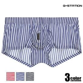 G-Station/ジーステーション 立体縫製 ストライプ ショートトランクス メンズ 男性下着 ローライズ パンツ サイドスリット 前開き 縞