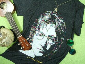 约翰·列侬T恤T恤人短袖锁头甲壳虫乐队约翰·列侬刺绣T恤Beatles Tshirt包免费