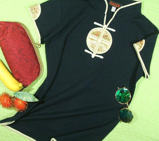 チャイナカラーTシャツ【サイズ:女性S 、女性XM(大きめM)、女性L 】【5000円以上で】送料無料 チャイナカラー Tシャツ レディス 半袖 大きいサイズ 太極拳 服 ウェア カットソー Uniform Tai Chi Clothing Kung Fu Jacket ラッピング無料