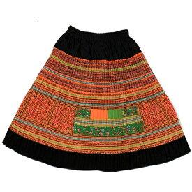 【1点もの】モン族総刺繍ミディアムスカート エスニック アジアン ゴア*00