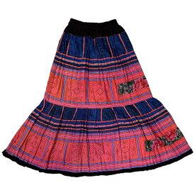 【1点もの】モン族総刺繍ロングスカート エスニック アジアン ゴア*00