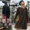 バルーンワンピース 長袖 2色 フリーサイズ 無地 刺繍 ロゴ エスニック ファッション アジアン 雑貨 ゴア GOA*3