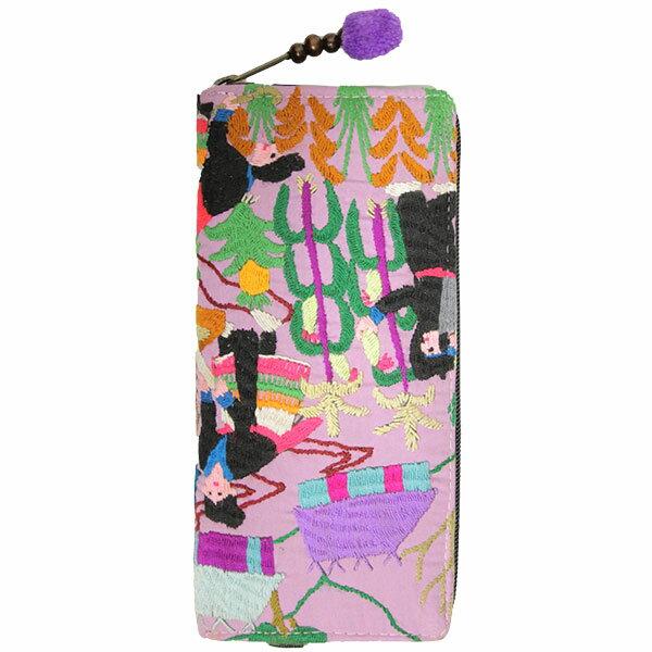 長財布 レディース メンズ ジェンダーレス ハンドメイド 刺繍 カラフル 1点もの エスニック ファッション アジアン 雑貨 ゴア