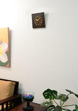 【送料無料】バリ木彫りリゾート壁掛け時計プルメリアWOO-0091【アジアン雑貨・バリ雑貨・アジアン家具・バリ家具・壁掛け・掛け時計・お祝い・引っ越し祝い・プレゼント】