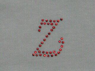 アイロン デコシート アルファベット 赤Z  アップリケ アイロン ラインストーン 【激安】 簡単 デコ アレンジ メール便 オリジナル プチデコ アルファベット イニシャル 接着 手芸 手芸用品 手作り リメイク