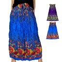 エスニック ファッション ギャザースカート ロングスカート フレアスカート ウエストゴム ネックストラップでワンピースにも 総柄プリ…