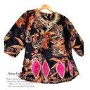エスニックトップス さらさらブラウス インド綿 フラワー 7分袖 Aライン ダンス衣装 スリットあり 裏地なし さらさらコットンで軽い着…