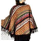 【送料無料】エスニックアウターポンチョ民族衣装ハイネックフリンジゲリコットンモン族総柄ハイネックのフリンジポンチョコートです