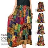 エスニックギャザーロングスカートフレアスカートウエストゴム総柄プリントパッチワークシャーリングマキシ丈のアジアンスカートです
