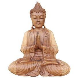 ブッダの木彫り 32cm 合掌 座像 スワール無垢材 木製仏像 080711