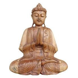 ブッダの木彫り 31cm 合掌 座像 スワール無垢材 木製仏像 080712