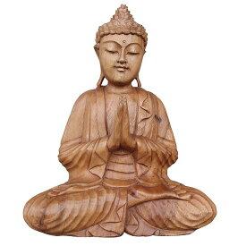 ブッダの木彫り 31cm 合掌 座像 スワール無垢材 木製仏像 080713