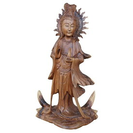 観音菩薩の木彫り Dewi Quan yin 木製 スワール無垢材 44cm 080798
