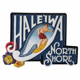ハレイワ ノース ショア 木彫りのハワイアンサインボード HALEIWA NORTH SHORE Man 56X40