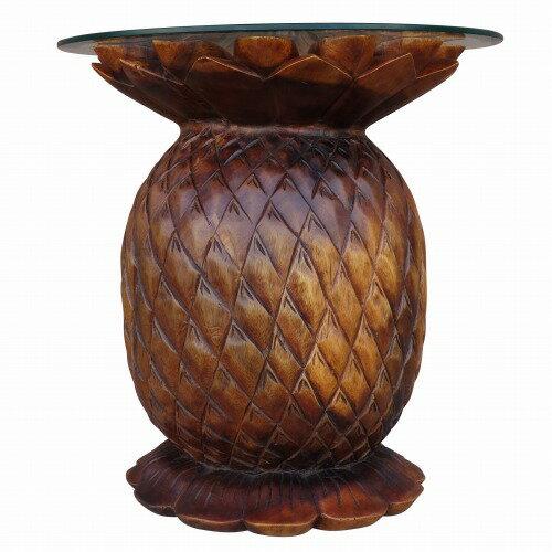 パイナップル木彫りテーブル 木製スワール無垢材 【アウトレット】【返品不可】
