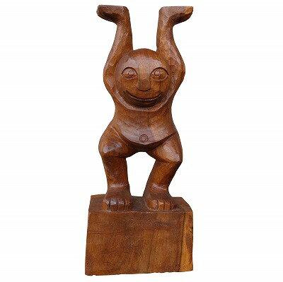 メネフネの木彫り MENEHUNE 40cm ステンディング 木製スワール無垢材 ハワイの妖精 【アウトレット】【返品不可】