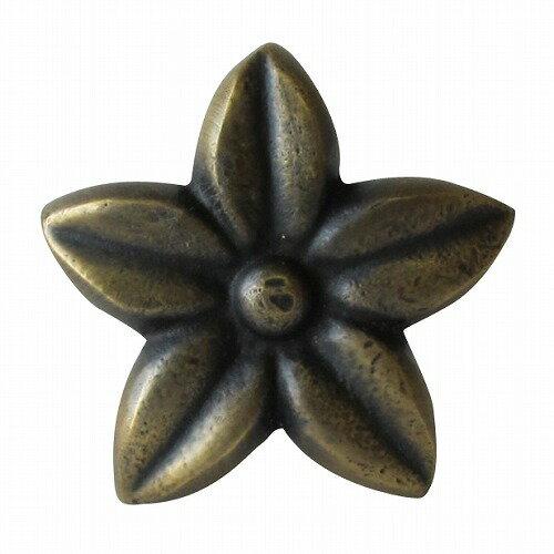 家具の取っ手 プルメリアの花 真鍮製 アンティーク調 ハンドル N-098 【メール便OK】