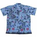 バティックシャツ コットン半袖シャツ No.145 ホワイト 花柄 和柄 DEWI CINTA 【メール便OK】