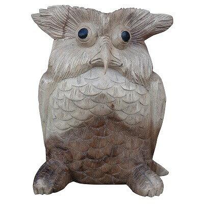 フクロウの木彫りの置物 ナチュラル 20cm 010418