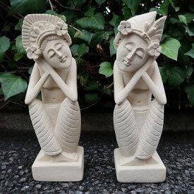 バリニーズカップル石像 プリミティブ人形 Lサイズ 30cm 男女2体セット 【アウトレット】【返品不可】