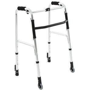 【送料無料】楽々健 折り畳み式歩行器 アルミ製 歩行補助器 5段階高さ調整 固定型【前キャスター付き】