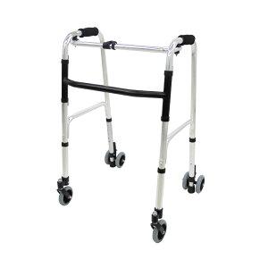 【送料無料】楽々健 折り畳み式歩行器 アルミ製 歩行補助器 5段階高さ調節 固定型【前後キャスター付き】【母の日】