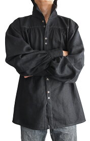 ヘンプのルネッサンスシャツ(黒)