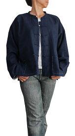 柔らかヘンプのインディゴ染め手縫いチャイナシャツ(インディゴ)