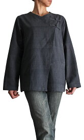 ジョムトン手織綿2ボタンブラウス(墨黒)