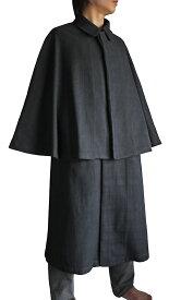 ジョムトン手織り綿のインバネスコート(黒)
